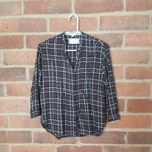 RAG & BONE Plaid Pleated Button-Up Shirt Size S